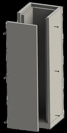 Leichtbauschornstein aus Calciumsilikat Brandschutzplatten mit Jeremias Innenrohren vom Edelstahlschornstein System EW-FU oder EW-KL