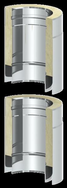 Doppelwandiger Edelstahlschornstein mit glatter Rohrsäule